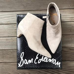 Sam Edelman Lucy Light Gray Suede Booties